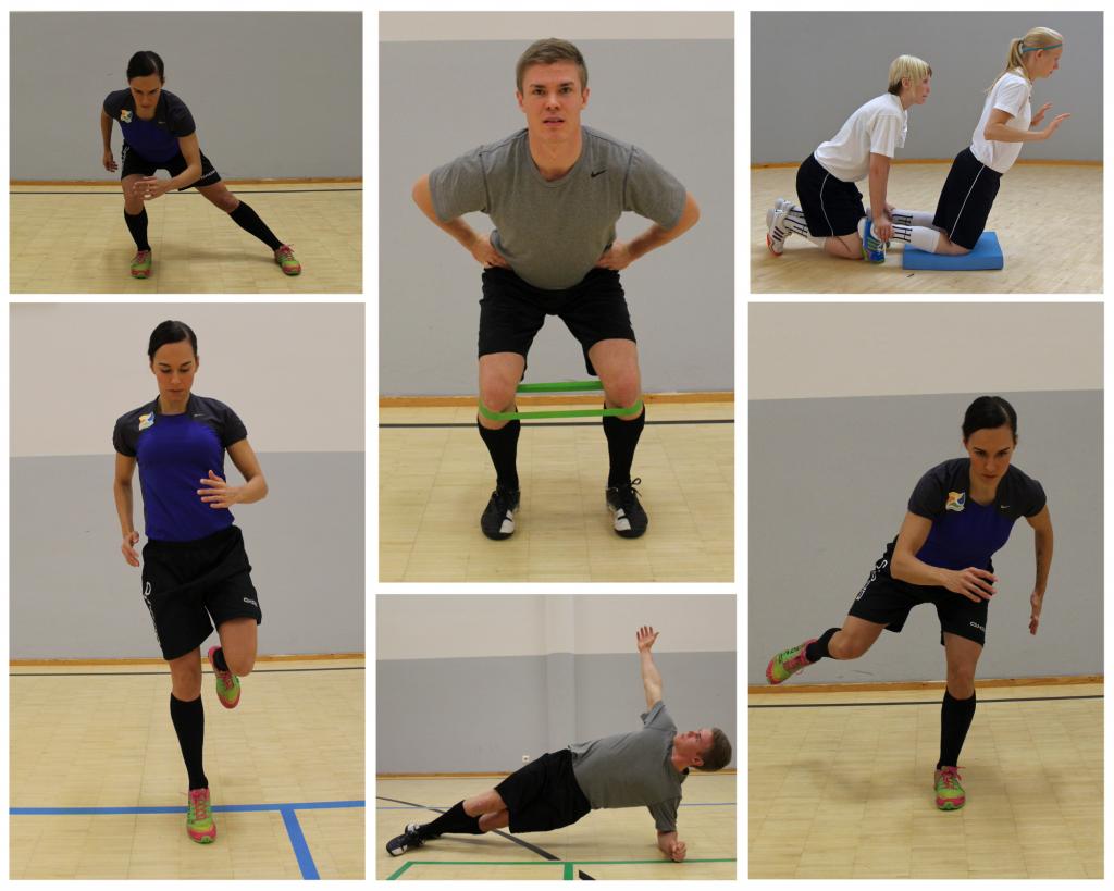 Kuvakollaasi, jossa urheilijat tekevät seuraavia liikkeitä: askelkyykky sivulle, alastuloharjoitteita, kuminauhalla tehtävä kyykkyharjoite, takareiden voimaharjoite ja sivulankku.